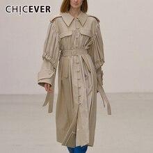 CHICEVER PU Leather Ruched damskie płaszcze z kołnierzykiem z klapami bufiaste rękawy High gorset kurtki damskie 2020 moda jesień nowe