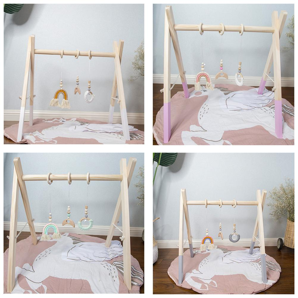 Wooden Woven Rainbow Fitness Machine Newborn Baby Fitness Frame Educational Toys Photography Props Decoration And Matching