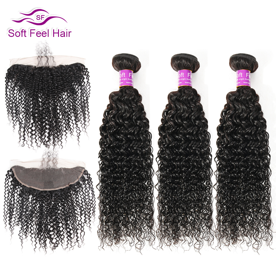 Soft Feel Hair Peruvian Kinky Curly Bundles With Frontal 13x4 Human Hair Lace Frontal Closure With Bundles Remy Hair 3/4 Bundles
