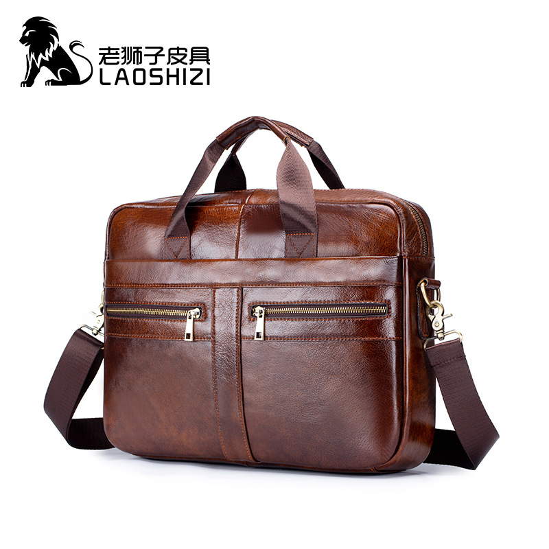 Messenger Leather Bag Men Cow Vintage With Two Zippers Laptop Genuine Leather Briefcases Borsa Porta Computer Crazy Horse 0020