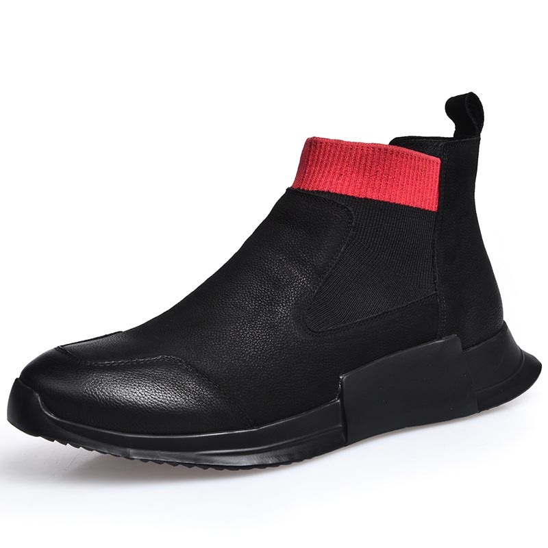 Vintage Men Winter Fleece Lining Ankle Boots 2020 Luxury Genuine Leather Thick Platform Man Footwear Retro Casual Slip On Shoes