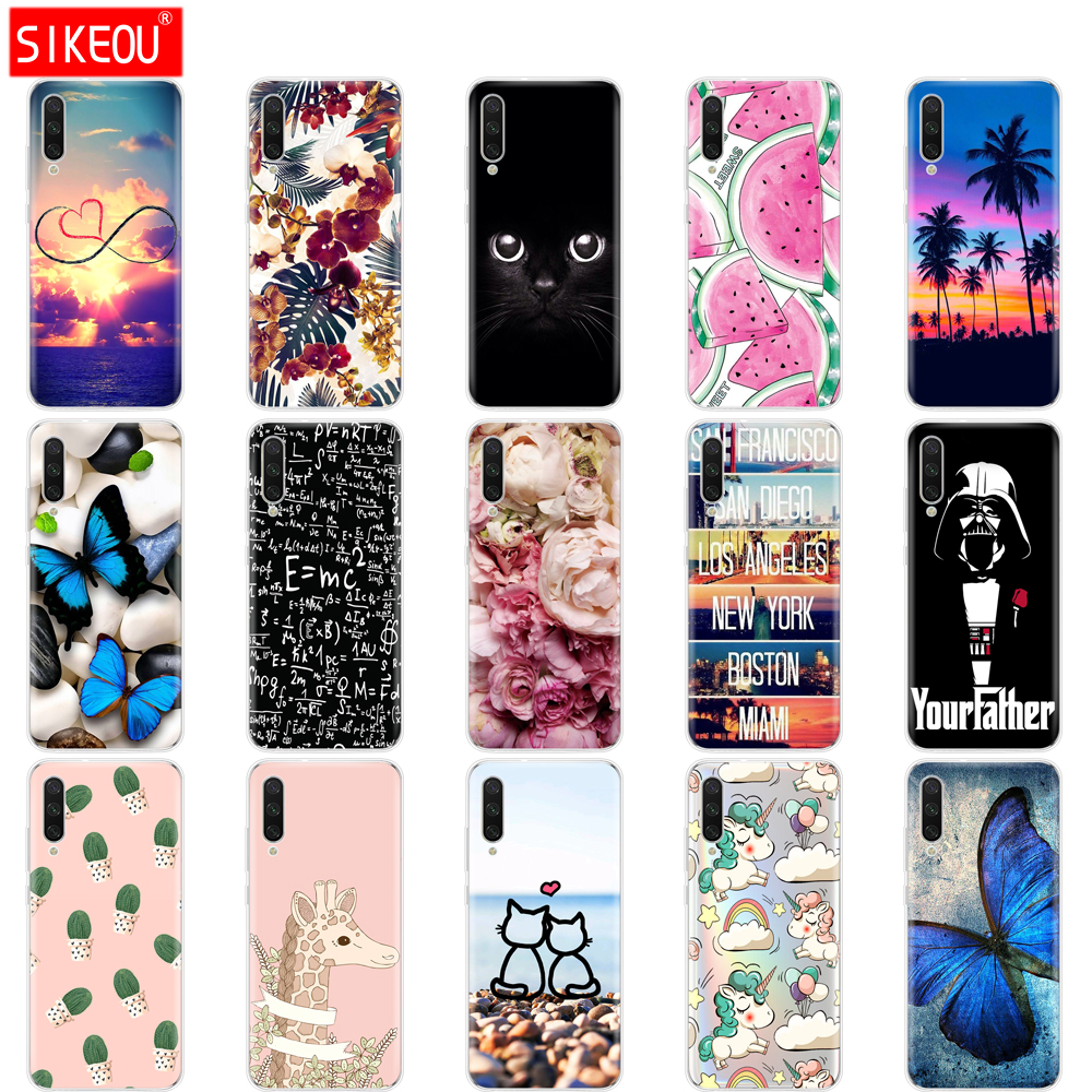 Silicone Cover For Xiaomi MI A3 Case Full Protection Soft Tpu Back Cover Phone Cases For Xiomi MI A3 Bumper Coque Cat Flower