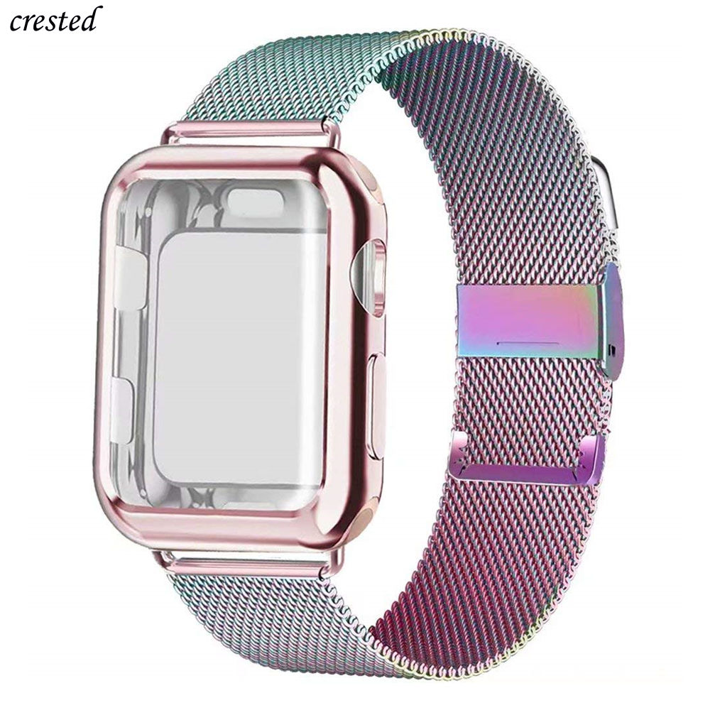 Case+strap For Apple Watch Band 44 Mm 40mm IWatch Band 42mm 38mm Stainless Steel Milanese Loop Bracelet Apple Watch 5 4 3 2 1 38