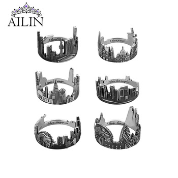 AILIN Engraving Custom 925 Sterling Silver City Skyline Rings Men Women Travel Personalized Name Ring Customized Jewelry Gifts kingsman the secret service custom signet rings for men women 925 sterling silver gold color jewelry customize free engraving