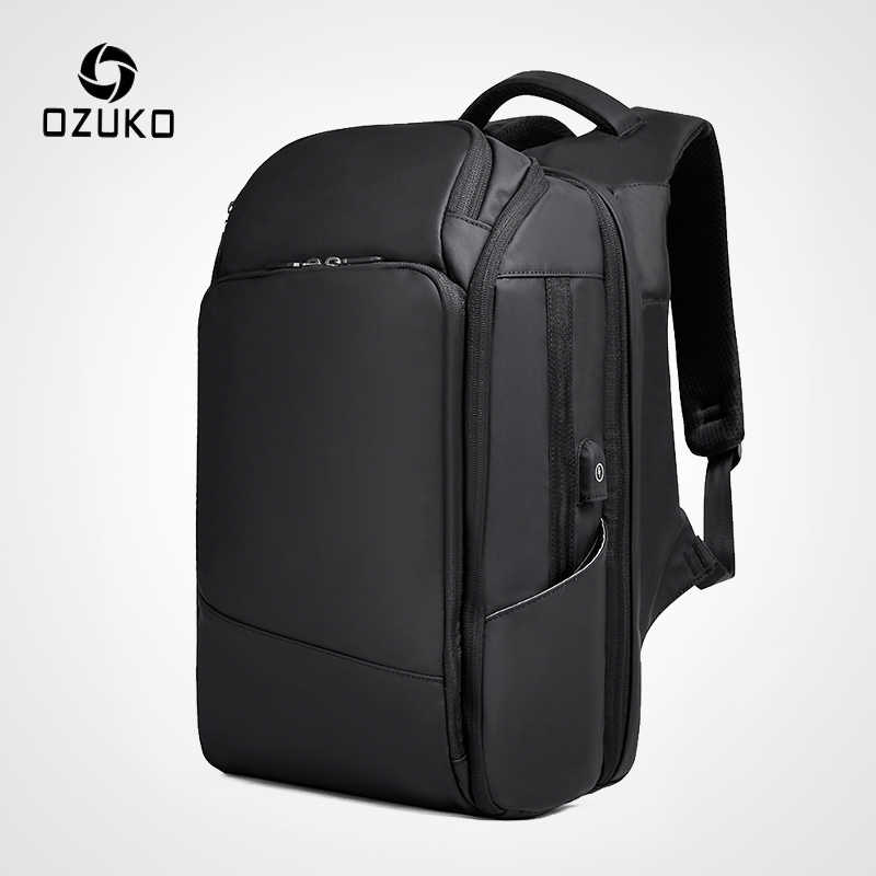 OZUKO 15.6 Inch Laptop Backpack Men Waterproof USB Charging Backpacks Large Capacity Male Travel Mochila Multi-layer Backpack