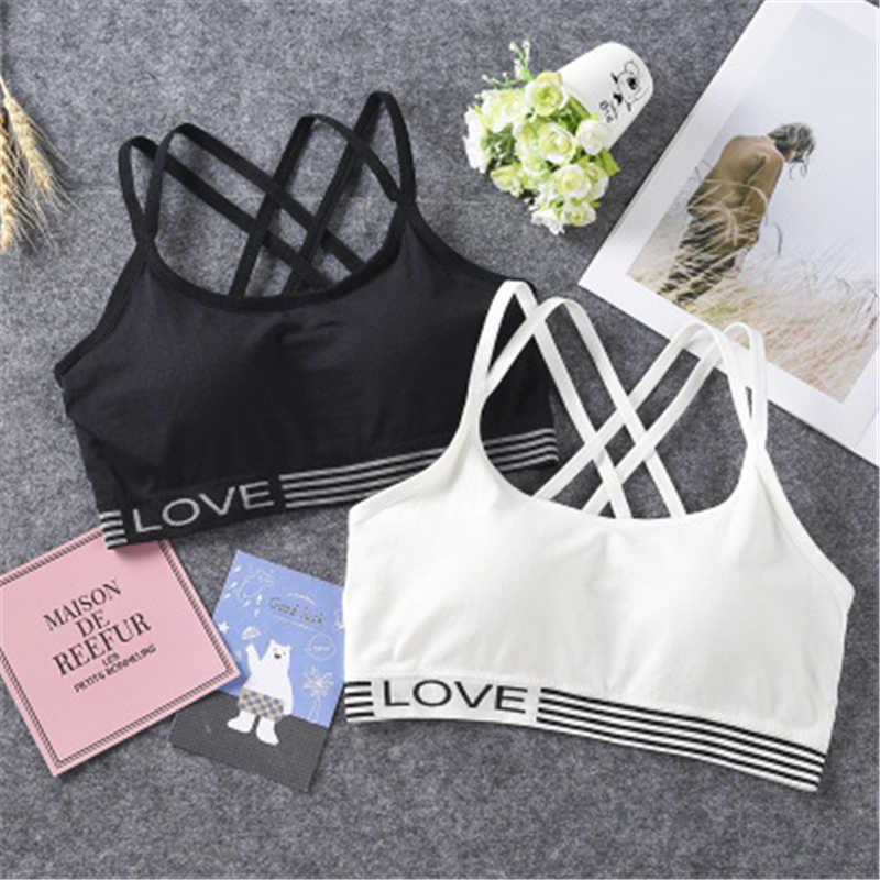 Yoga Bra Wanita Olahraga Top Letters Ukuran Bebas Aktif Olahraga Latihan Hitam Whit TOP Girl Gym Bra untuk Kebugaran Tinggi elastis