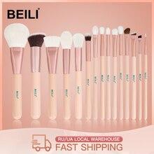 BEILI 15Pcs Pinceles de maquillaje de oro rosa rosada Cabra natural Pony Hair Foundation rubor de ojos Blending Contour Powder Professional set
