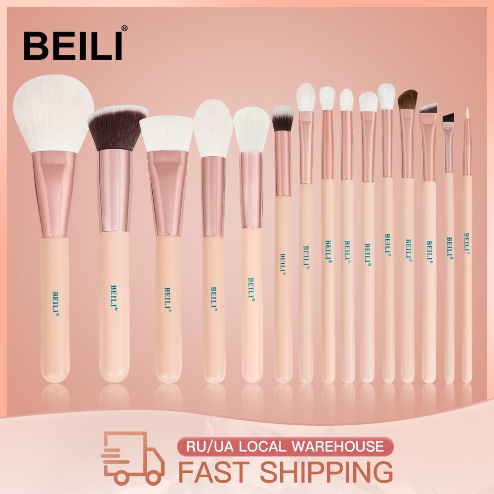 BEILI 15Pcs Pink Rose Gold Makeup brushes Natural goat Pony Hair Foundation blush eye Blending Contour Powder Professional set|makeup brush set|brush setgoat hair - AliExpress