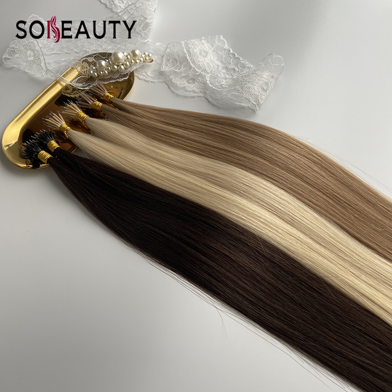 Sobeauty Real Remy Hair Extensions 100PCS 20'' Straight Hair Nano Rings Hair Extension Human Hair Extensions Fusion Hair