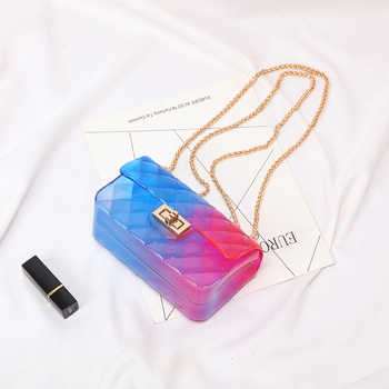 Clear Colorful Transparent jelly Bag Gradient Candy Color Crossbody Bags Designed Ladies Shoulder Chain Messenger Bag