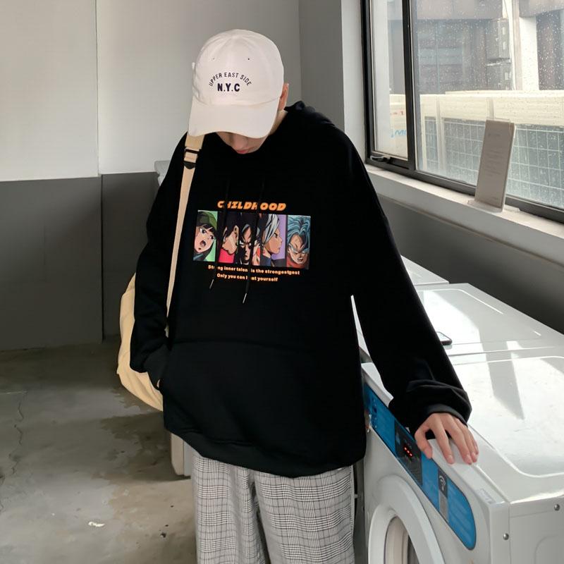 2020 Hot Harajuku dragon ball print hip hop hoodie men funny Loose fashion casual Vintage Sweatshirt Oversized black streetwear
