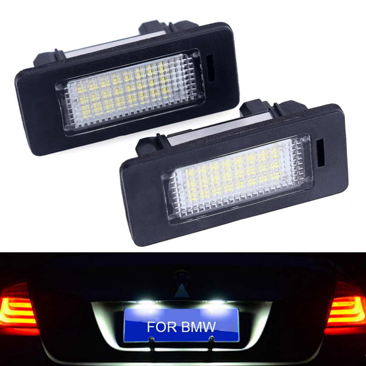 2Pcs/Set Error Free White 18SMD LED Number License Plate Lights For BMW E39 E70 E71 X5 X6 E60 M5 E90 E92 E93 M3 License Lamp