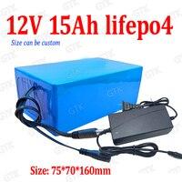 Lifepo4 12v 15Ah keine 10Ah lifepo4 batterie pack 12,8 v 20A DC wiederaufladbare für monitor Straße licht 240W golf trolley + 2A ladegerät(China)