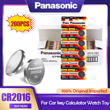 200 Panasonic PÇS/LOTE CR2016 3V CR Bateria de Lítio 2016 DL2016 LM2016 KCR2016 ECR2016 GPCR Para O Relógio de Brinquedo Chave Do Carro Botão de Célula tipo Moeda
