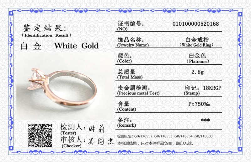 95% הנחה! עם תעודת יוקרה סוליטייר 2.0ct Zirconia יהלומי טבעת 925 כסף מוצק 18K זהב לבן חתונה לנשים