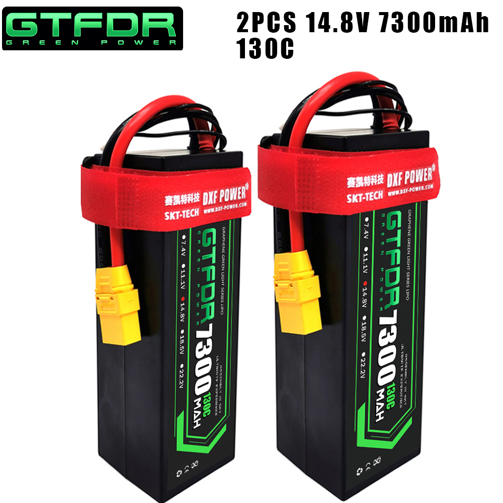DXF 2PCS <font><b>4S</b></font> <font><b>Lipo</b></font> Battery 14.8V <font><b>5200mAh</b></font> 5300mAh 6500mAh 7300mAh 50C 100C 80C 160C 130C 260C Hardcase For 1/8 Buggy RC Car Truck image