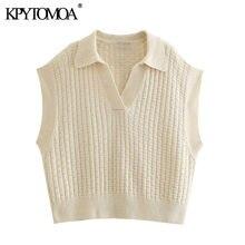 KPYTOMOA kobiety 2021 moda ponadgabarytowych kamizelka z dzianiny sweter w stylu Vintage z kołnierzykiem z klapami bez rękawów kobiet kamizelka eleganckie koszule