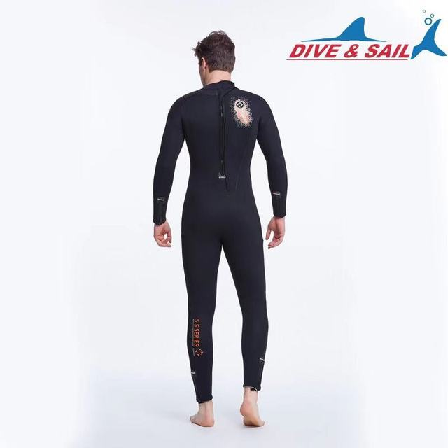 DIVE&SAIL Full Body 5MM Neoprene SCR Scuba Diving Wetsuit Fleece Lining for Men Warm Winter Swimming Surfing Thicker Diving Suit