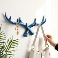Resin Deer Horn Nordic Wall Hook For Keys Holder Rack Bag Hat Coat Wall decorative clothes Hanger Home wall Décor Hooks