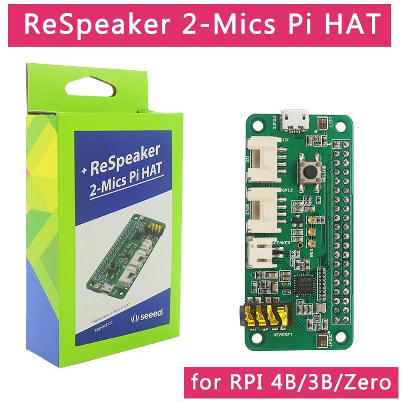 Raspberry Pi Respeaker 2-Mic Pi HAT Intelligent Voice Dual Microphone Compatible Raspberry Pi 4B / 3B+ / 3B / Zero W