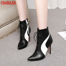 CDAXILAN new to womens boots PU leather fabric pointed toe high thin heels front lace-up Martin side zipper ankle