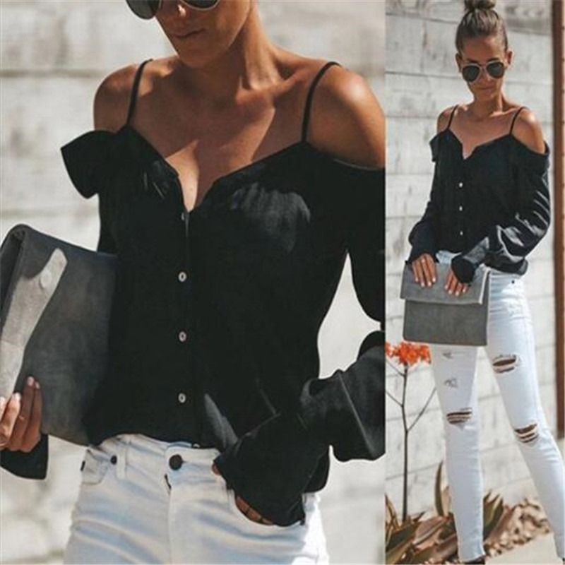 Clever Women Chiffon Blouse Shirts Women Off Shoulder V-neck Long Sleeves Tops Loose Blouse Shirt Cold Shoulder Sling Shirt Women Tops Last Style