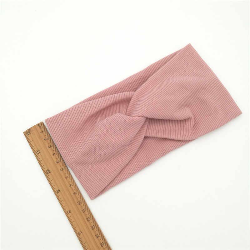 Diadema de algodón para mujer, turbante de Color sólido, diadema para niñas, accesorios para el cabello, cinta elástica para el cabello para mujer