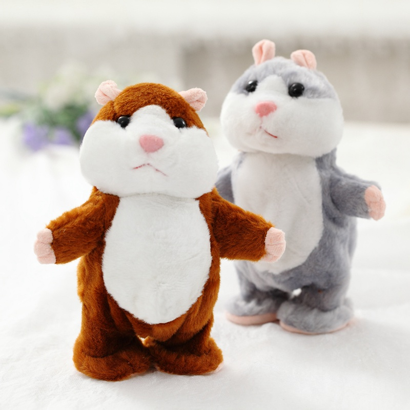 18cm Talking And Walking Hamster Toys Speak Sound Repeat Stuffed Plush Animal Electric Toys Cute Toys For Children