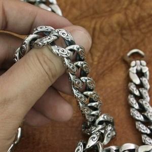 Image 3 - LINSION 925 srebro pomyślny chmury łańcuch mężczyzna Biker Punk naszyjnik TA155