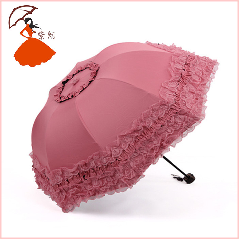 Creative Iron 8 Bone Vinyl Parasol Hipster Outdoor All-Weather Umbrella Five-Tier Lace Umbrella Wholesale