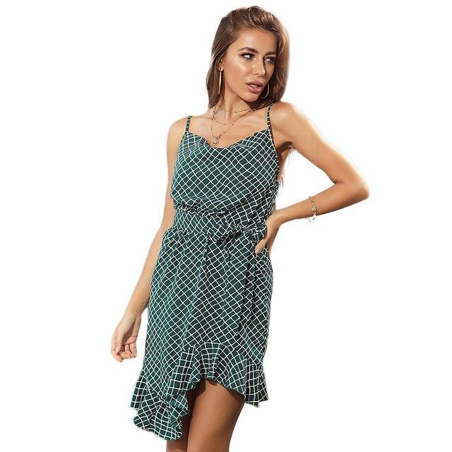 2021 summer dress for women, European and American sexy plaid design with irregular halter back dress 1