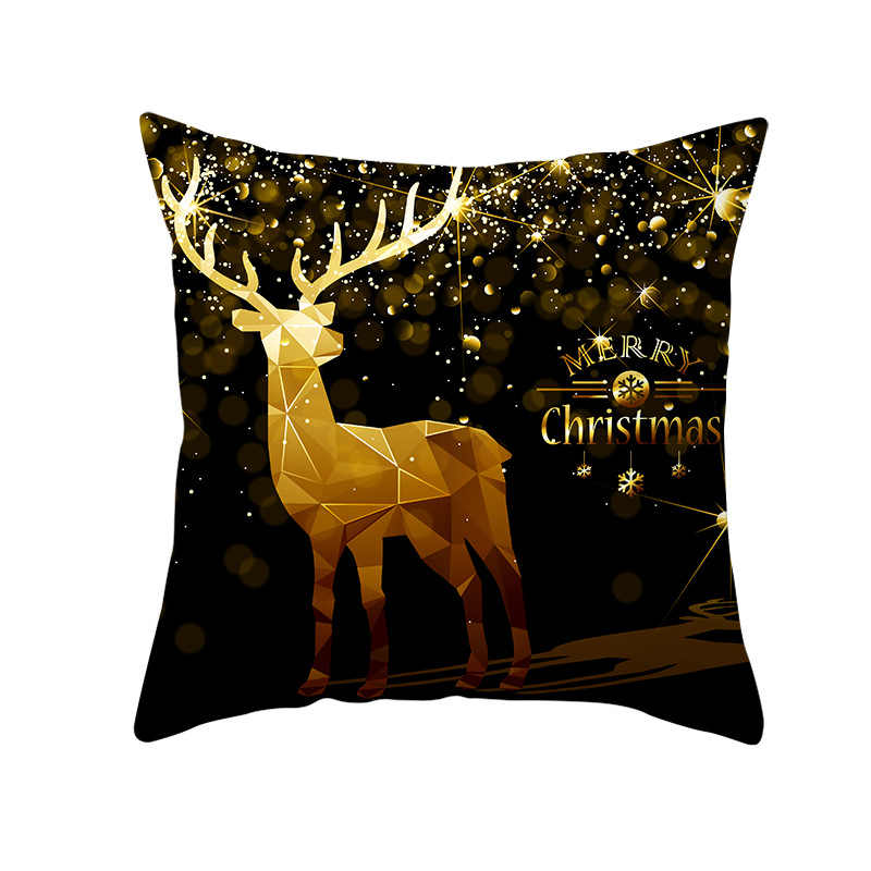 Рождественские декоративные наволочки с лосем, полиэстер, персиковая кожа, Веселый Рождественский Санта Клаус, наволочка, чехол, 45 см x 45 см