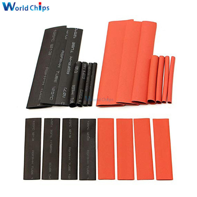 127Pcs Red Black Heat Shrink Tubing Polyolefin 2:1 Electrical Wrap Wire Cable Sleeves Insulation Shrinkable Tube Assortment Kit 1