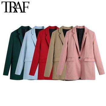 TRAF Women Fashion Office Wear Single Button Blazer Coat Vintage Long Sleeve Back Vents Female Outerwear Chic Veste