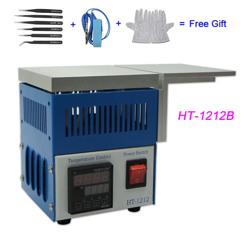 220V 110V 800W Honton HT-1212 Pre-heater Constant Temperature Heating Plate Station HT-1212B With Cooling Aluminum Plate