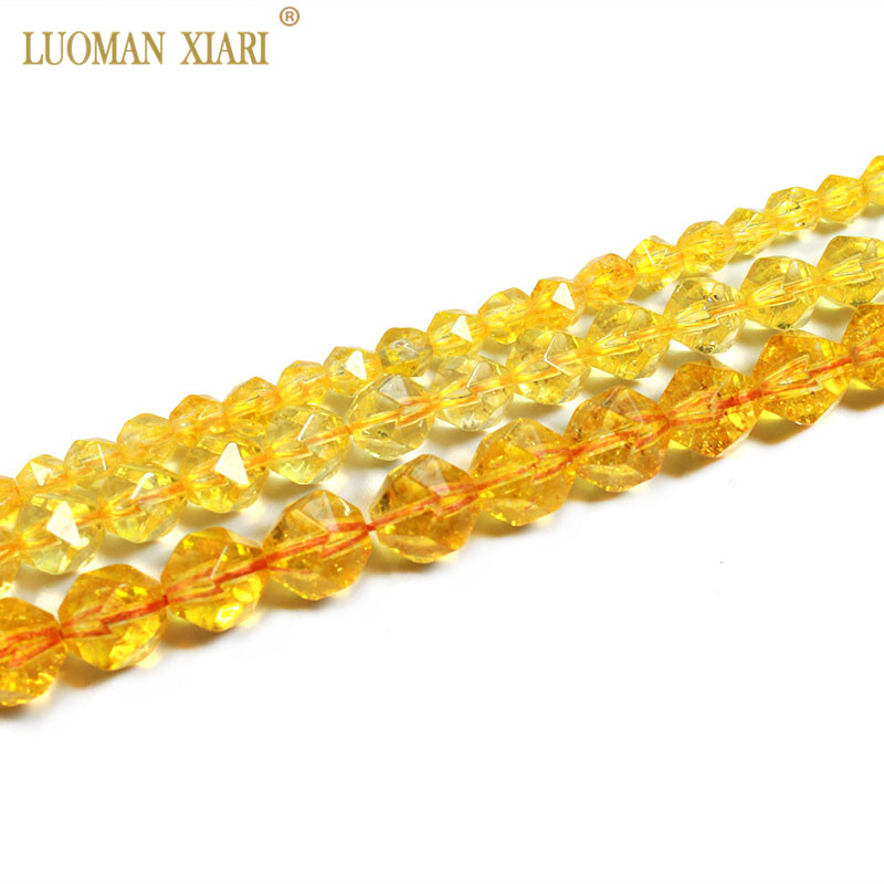 Fine AAA 100% Natural Faceted Citrine Round Natural Stone Beads Yellow Crystal For Jewelry Making Diy Bracelet Necklace 6/8/10MM