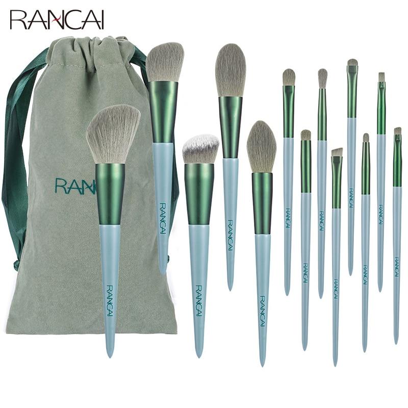 RANCAI 13pcs Cosmetics Makeup Brushes Set Large Loose Powder Foundation Highlight Contour EyeShadow Oblique Eyebrow Soft Hair