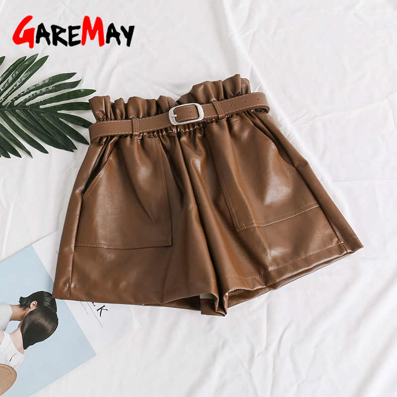 GareMay 2019 秋冬女性の革パンツ女性ハイウエスト韓国スタイルプラスサイズ PU 女性黒バイカーパンツ女性のための