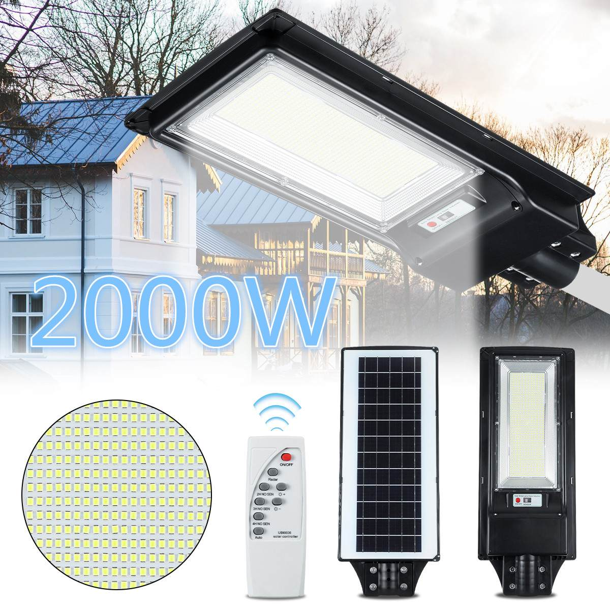 LED Solar Street Light 1000W 2000W PIR Motion Sensor Wall Lamp Human Body Infrared Outdoor Waterproof Home Garden Security Light