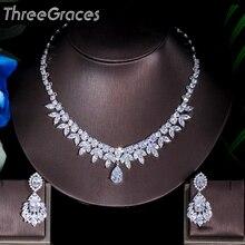 ThreeGraces en kaliteli amerikan gelin aksesuarları CZ taş düğün kostüm kolye ve küpe takı setleri gelinler için JS003