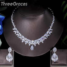 Tres Gracias, accesorios nupciales americanos de alta calidad, collar y pendientes de boda con piedras de CZ, conjuntos de joyería para novias JS003