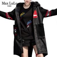 Max LuLu Winter Fashion Korean Streetwear Ladies Punk Clothes Womens Denim Long Trench Coats Vintage Fur Hooded Warm Windbreaker