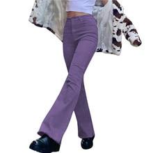 2021 Women Retro High Waist Denim Pants Wide Leg Jeans Flared Bell Bottoms Slim Straight Trousers Denim Trousers Streetwear