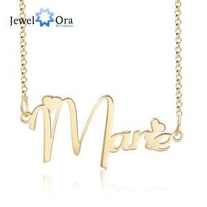 JewelOra персонализированное ожерелье с именной табличкой с сердцем на заказ ювелирные изделия Русский Иврит имя медное ожерелье подарок для д...