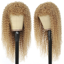 Kinky-Curly-Wigs Bangs Blonde Human-Hair Black Women Brazilian with Honey for Non-Lace