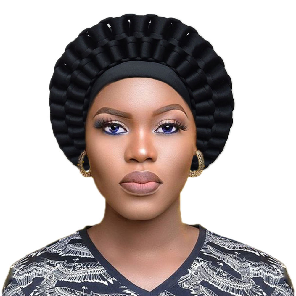 Women Turban Auto Gele African Headwraps Fashion Design Headtie Already Made