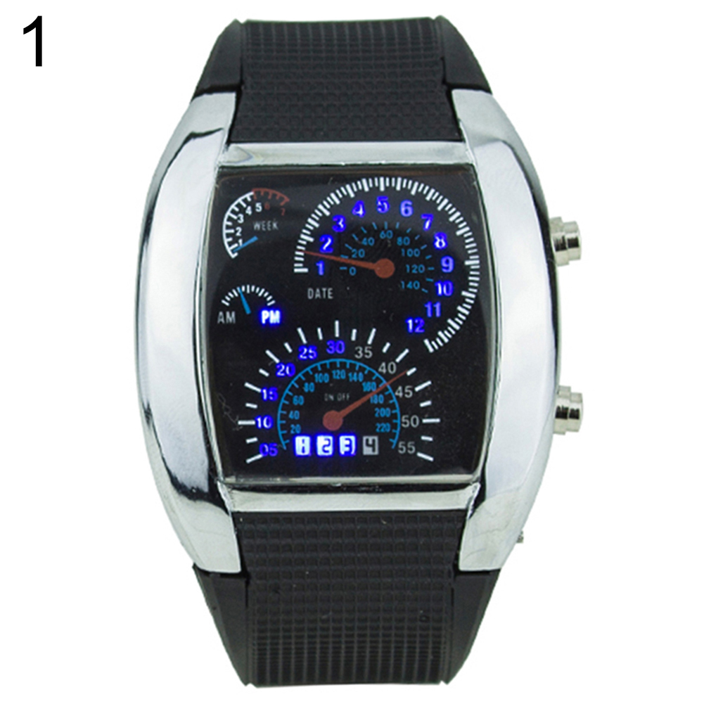 Cool Rubber Band RPM Speedometer Car Turbo Style Digital LED Wrist Watch Gift Reloj Digital Mujer Relogio Mas-culino Fashion Men