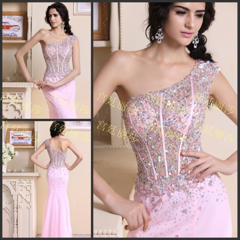 Free Shipping 2019 Luxury Crystal Beaded Sexy Formal Bride Pink Chiffon Long Mermaid Gown Party Prom Graduation Bridesmaid Dress