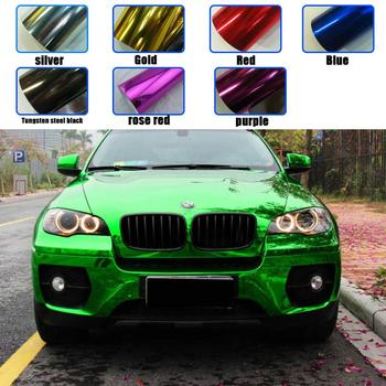 Factory Price  1.52x18M Self Adhesive Mirror High Stretchable Chrome Wrap Green Car Sticker Vinyl Film