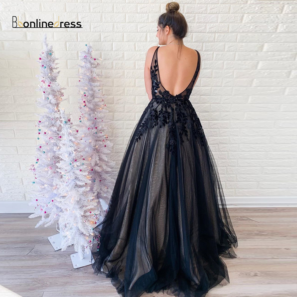 Bbonlinedress Elegant Black Long Prom Dress Appliques A-Line Formal Gown Spaghetti Strap Prom Dresses Floor Length Party Gown